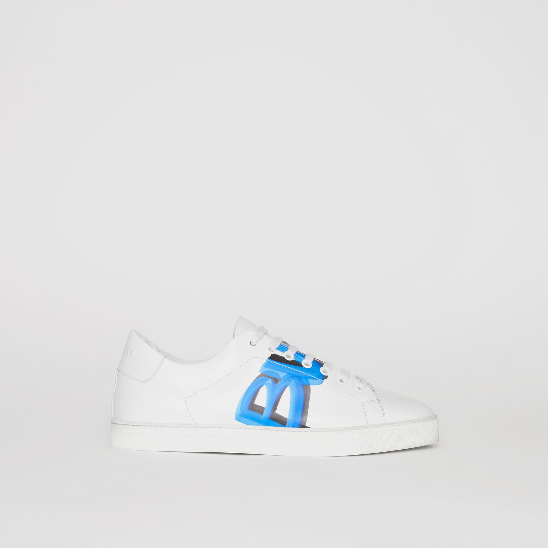 Logo Print Leather Sneakers in Optic White/bright Sky Blue - Men | Burberry - gallery image 0
