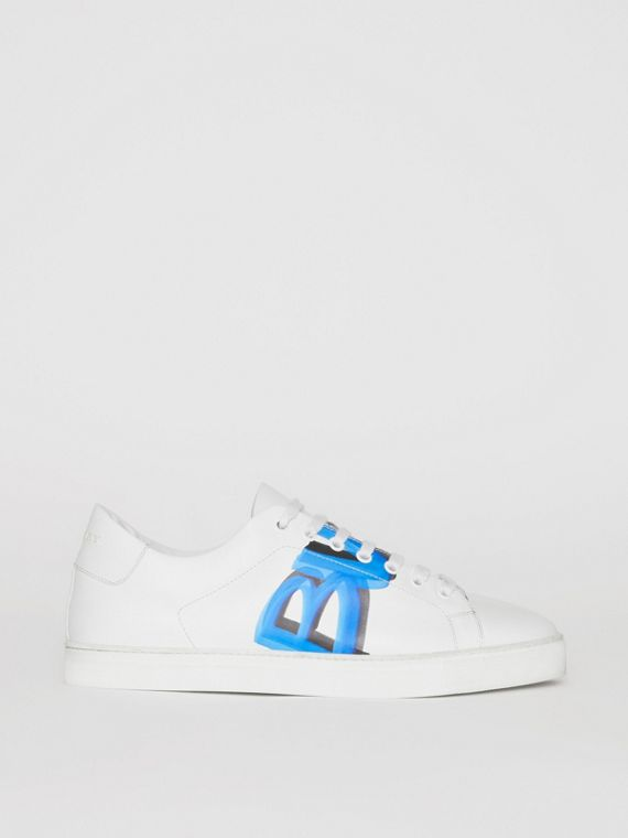 Logo Print Leather Sneakers in Optic White/bright Sky Blue