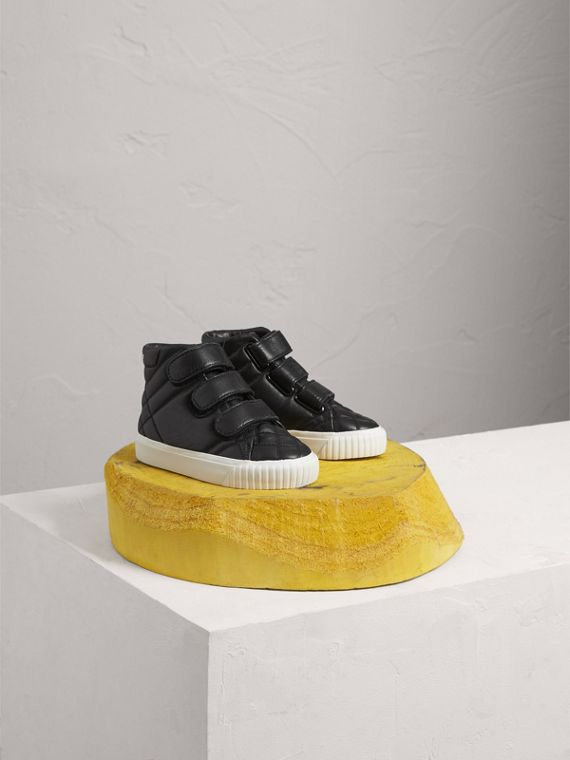 Quilted Leather High-top Trainers in Black