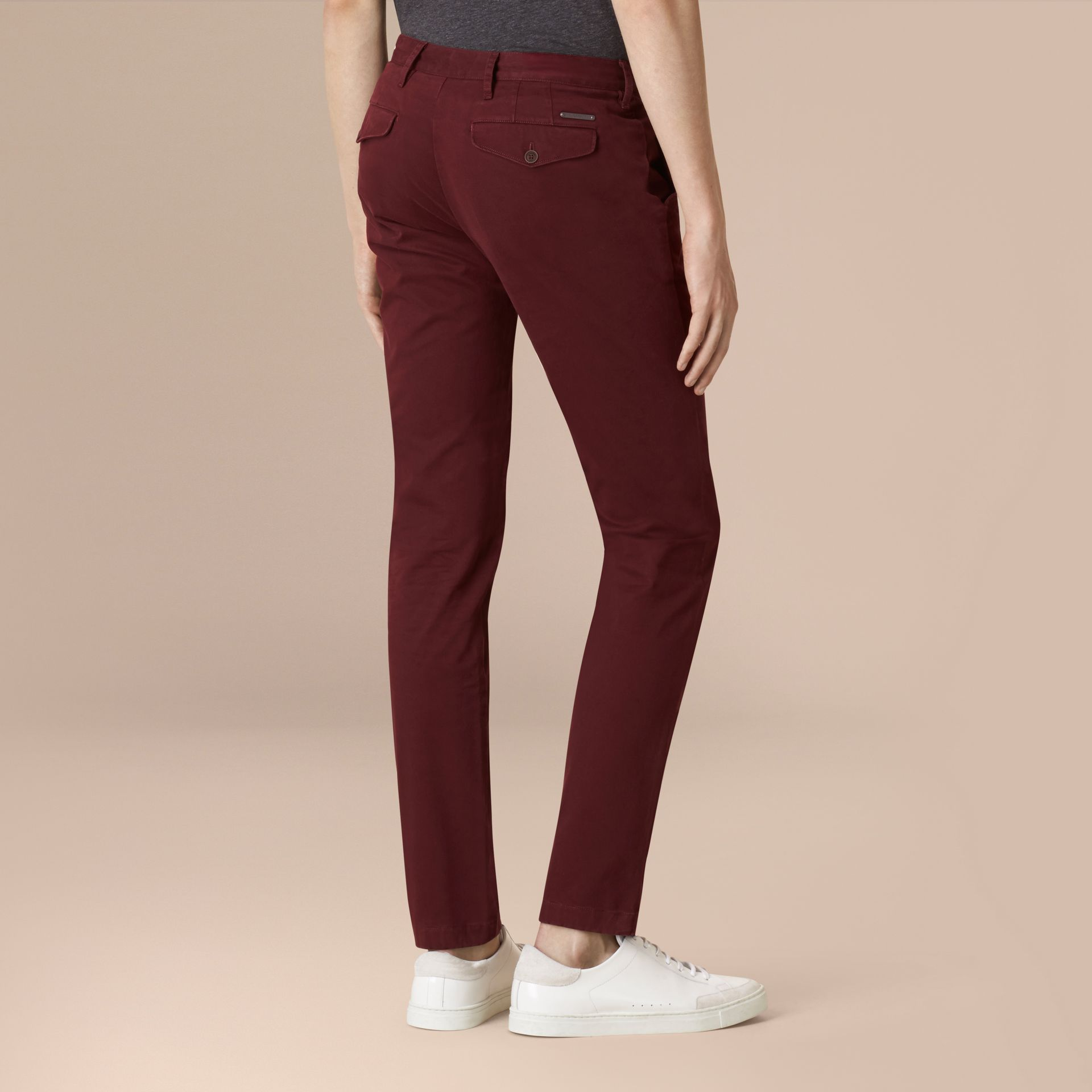 Deep claret Slim Fit Lightweight Stretch-cotton Chinos - gallery image 2