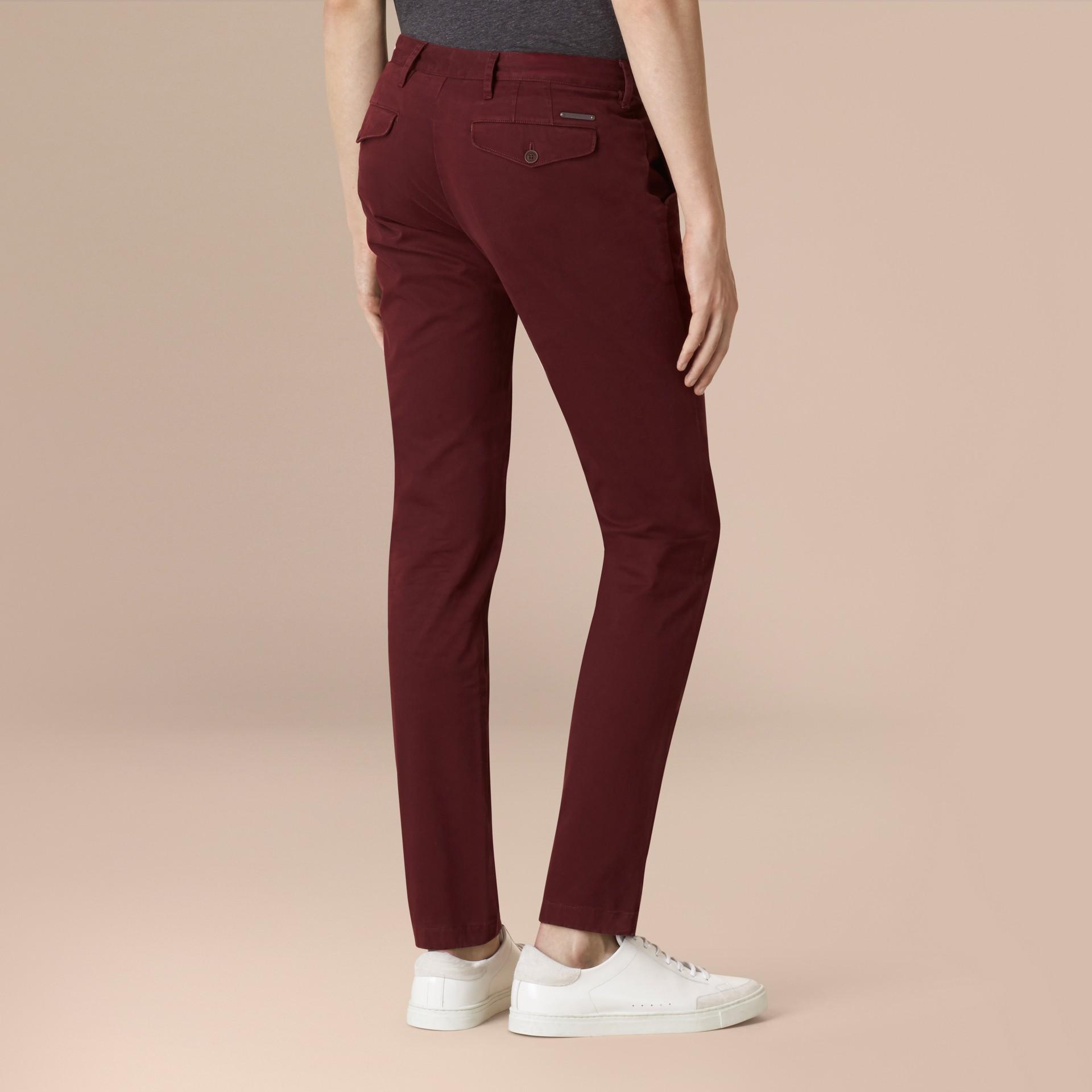 Темный кларет Узкие брюки из эластичного хлопка - изображение 2