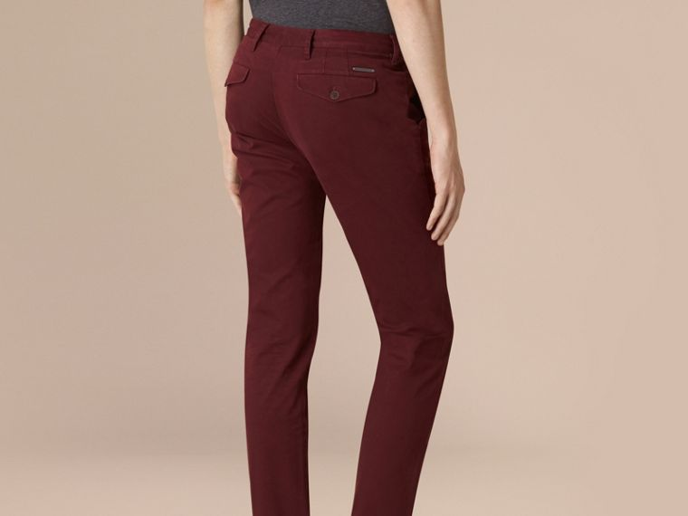 Deep claret Slim Fit Lightweight Stretch-cotton Chinos - cell image 1