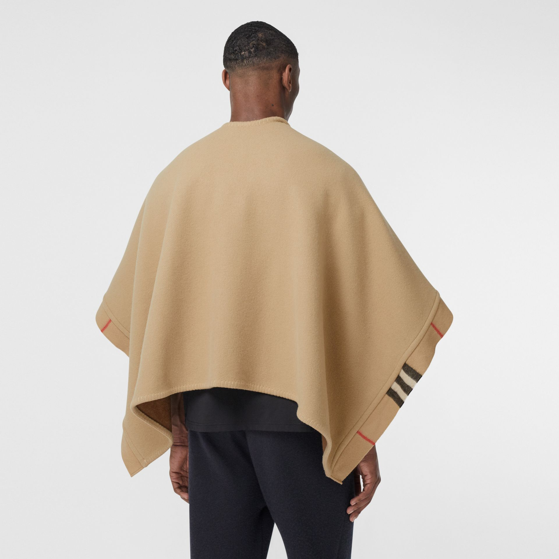 Check Trim Wool Cashmere Cape in Archive Beige - Women | Burberry - gallery image 9