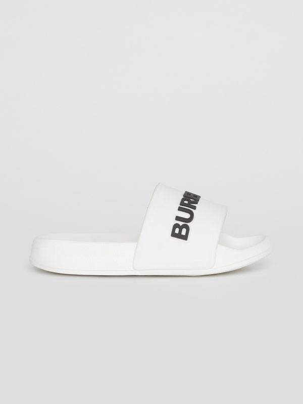 Kingdom Motif Slides in Optic White/black - Children | Burberry Canada - cell image 3