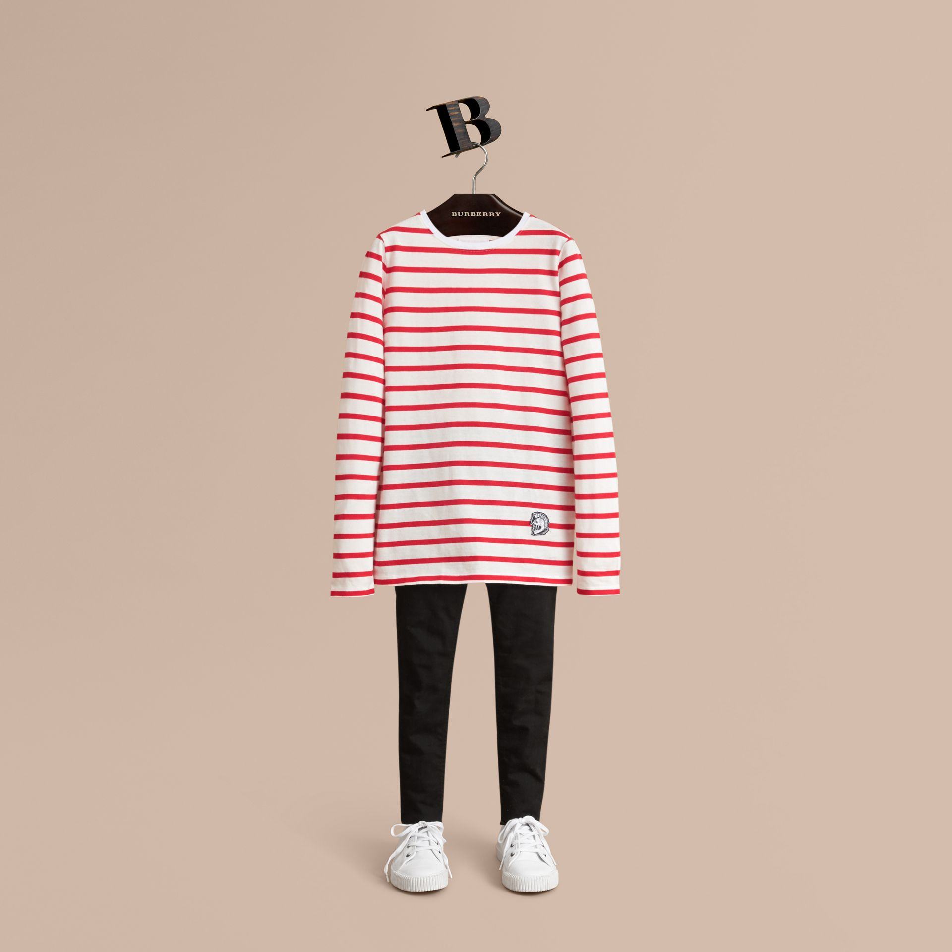 Unisex Pallas Helmet Motif Breton Stripe Cotton Top in Parade Red | Burberry - gallery image 1