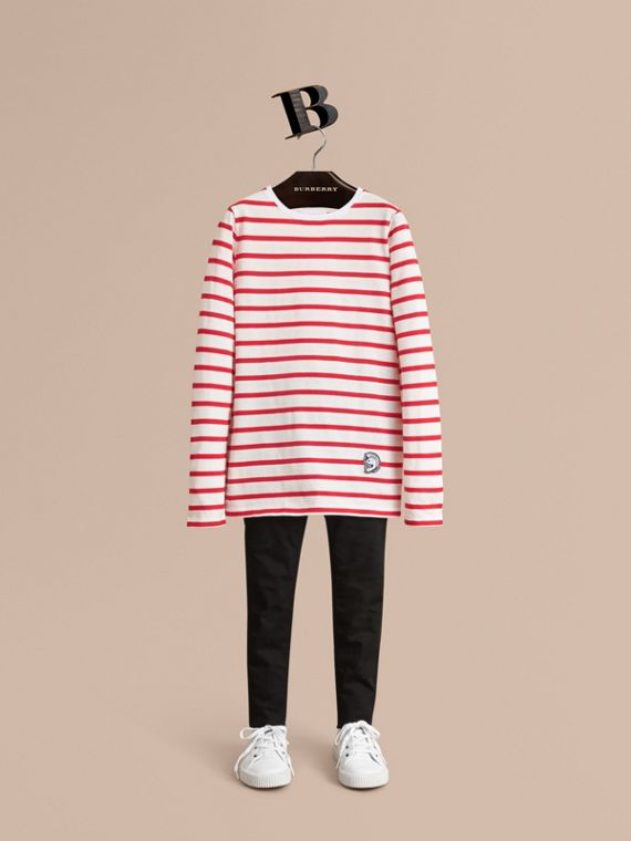 Unisex Pallas Helmet Motif Breton Stripe Cotton Top in Parade Red