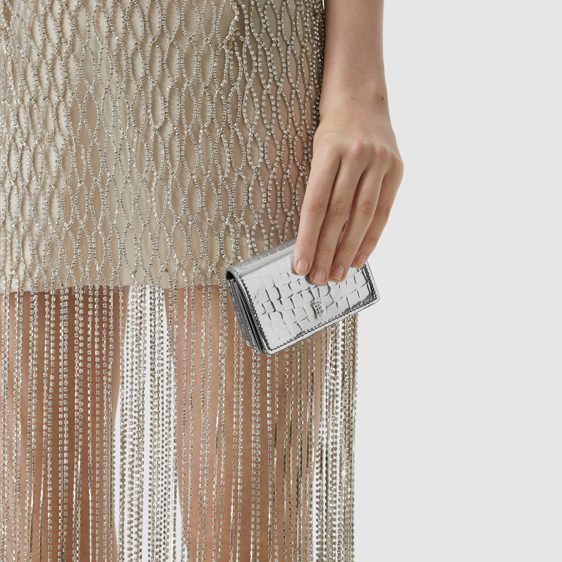 Metallic Embossed Card Case with Detachable Strap in Silver | Burberry United Kingdom - gallery image 2