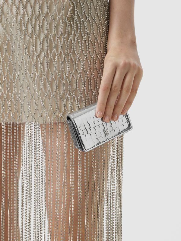 Metallic Embossed Card Case with Detachable Strap in Silver | Burberry United Kingdom - cell image 2