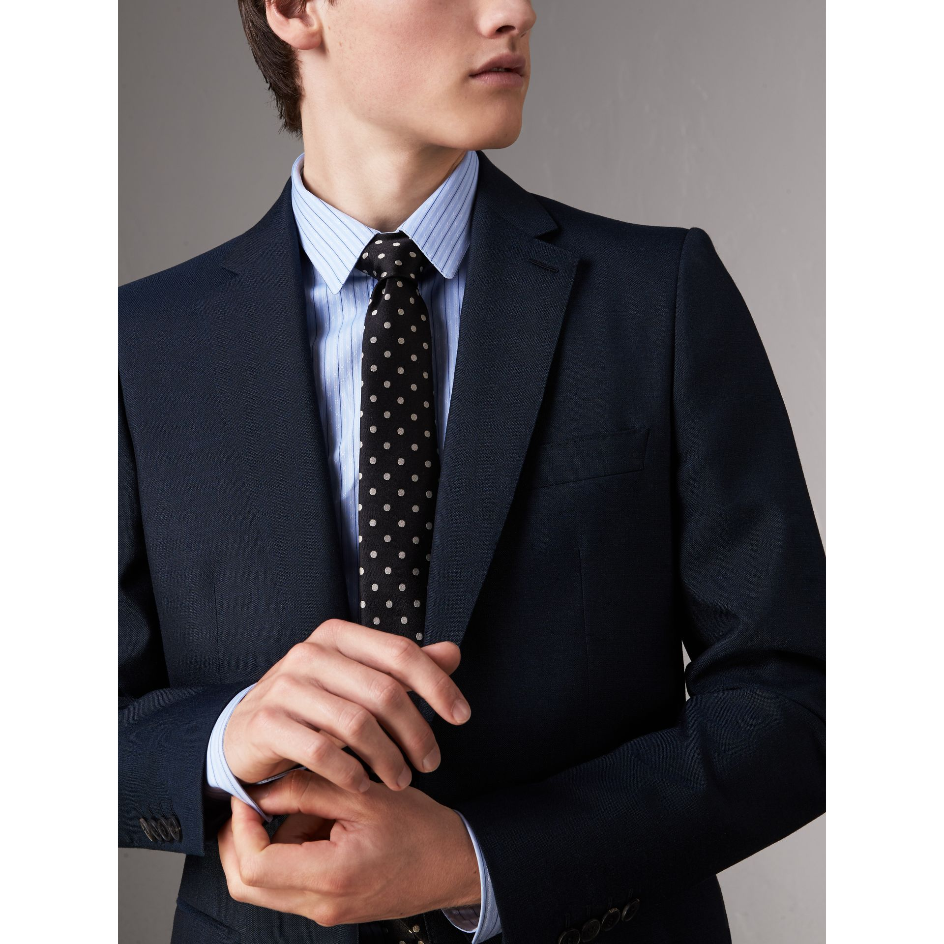 Modern Cut Polka-dot Silk Tie in Black - Men | Burberry United Kingdom - gallery image 3
