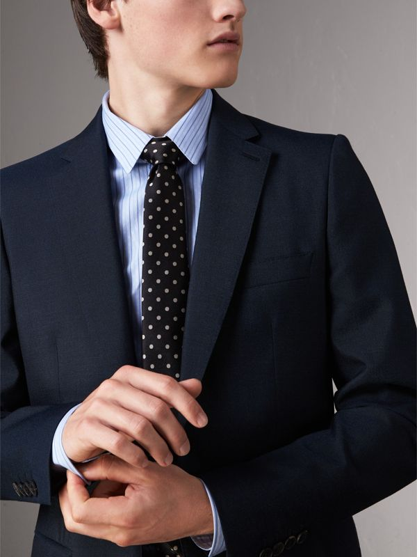 Modern Cut Polka-dot Silk Tie in Black - Men | Burberry - cell image 2