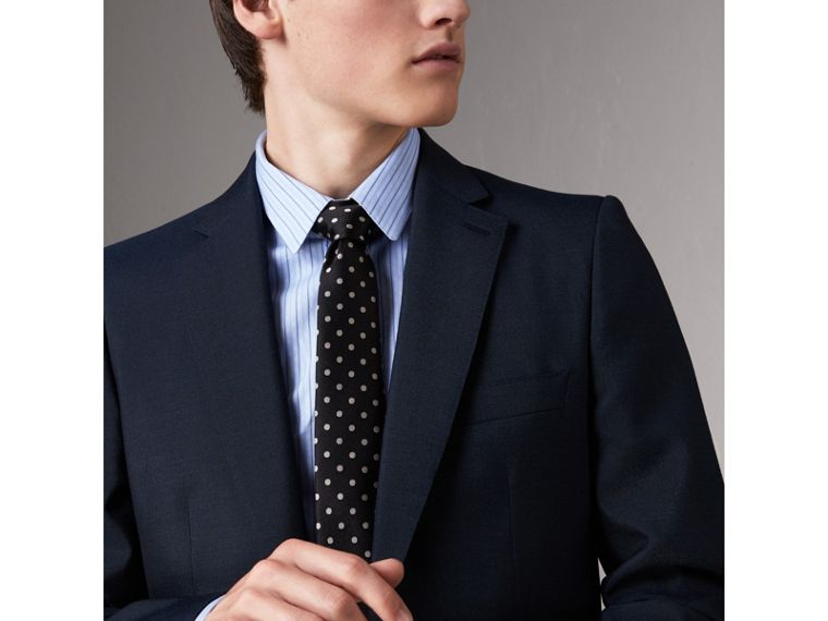 Modern Cut Polka-dot Silk Tie in Black - Men | Burberry United Kingdom - cell image 2