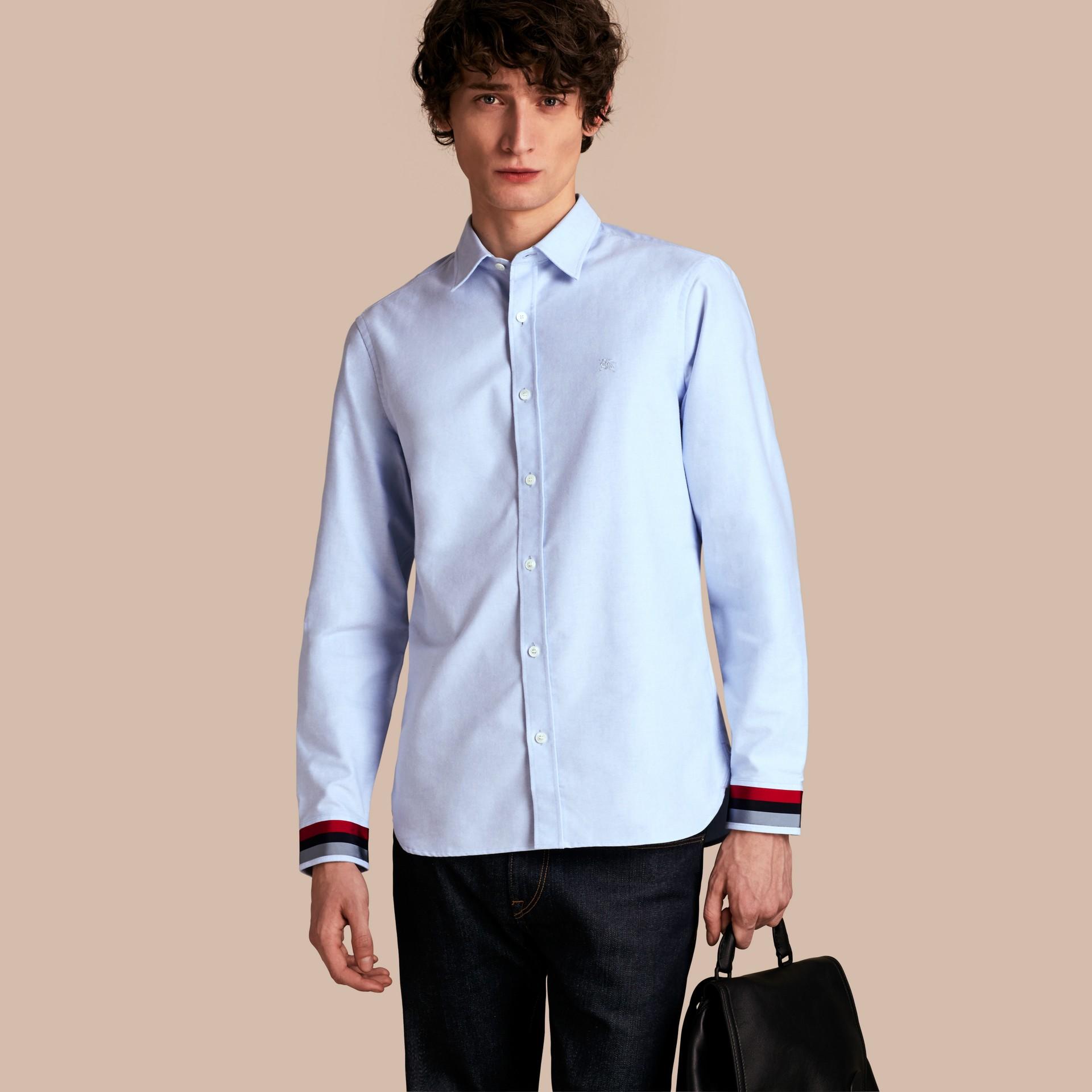 Oxford Cotton Shirt with Regimental Cuff Detail Cornflower Blue - gallery image 1