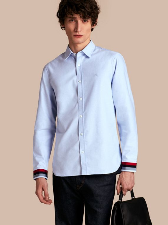 Oxford Cotton Shirt with Regimental Cuff Detail Cornflower Blue