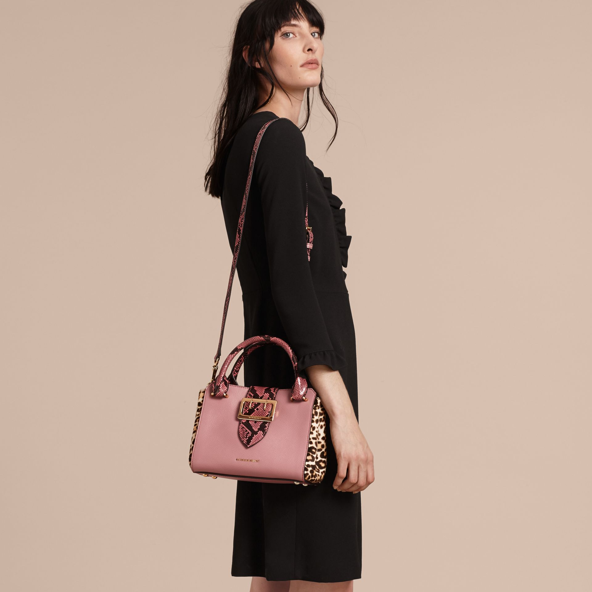 Dusty pink The Small Buckle Tote in Leather and  Leopard-print Calfskin Dusty Pink - gallery image 3
