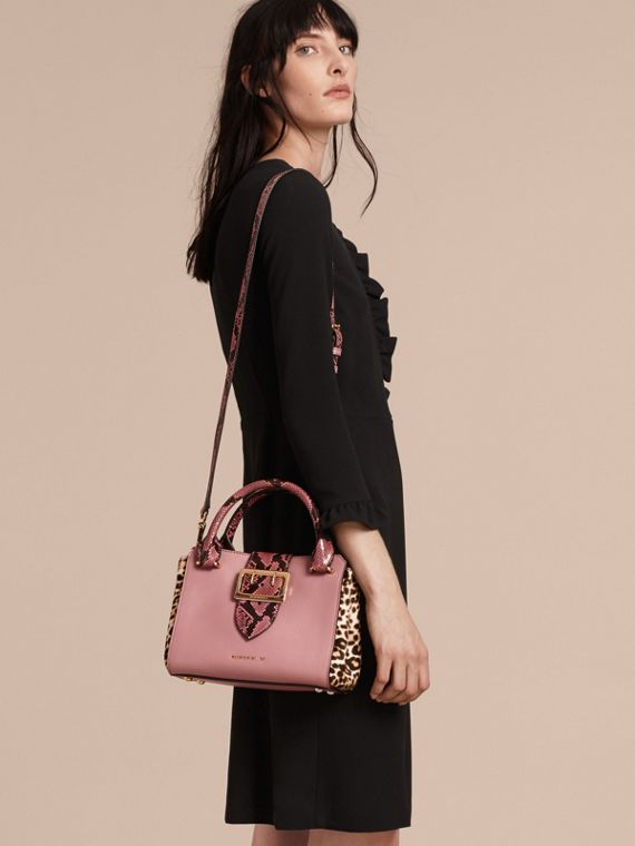 Dusty pink The Small Buckle Tote in Leather and  Leopard-print Calfskin Dusty Pink - cell image 2