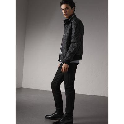 Stand-collar Military-quilted Jacket with Packaway Hood in Black - Men    Burberry
