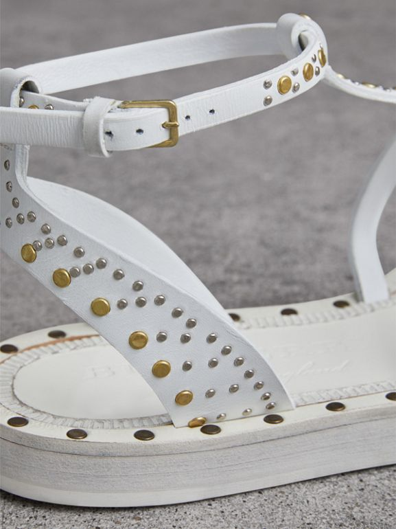 Riveted Leather Gladiator Sandals in Optic White - Women | Burberry - cell image 1