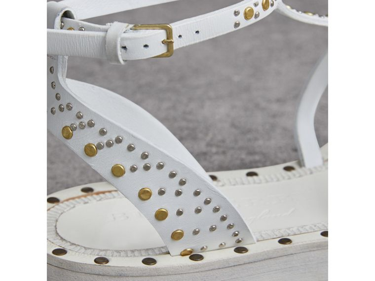 Riveted Leather Gladiator Sandals in Optic White - Women | Burberry Australia - cell image 1