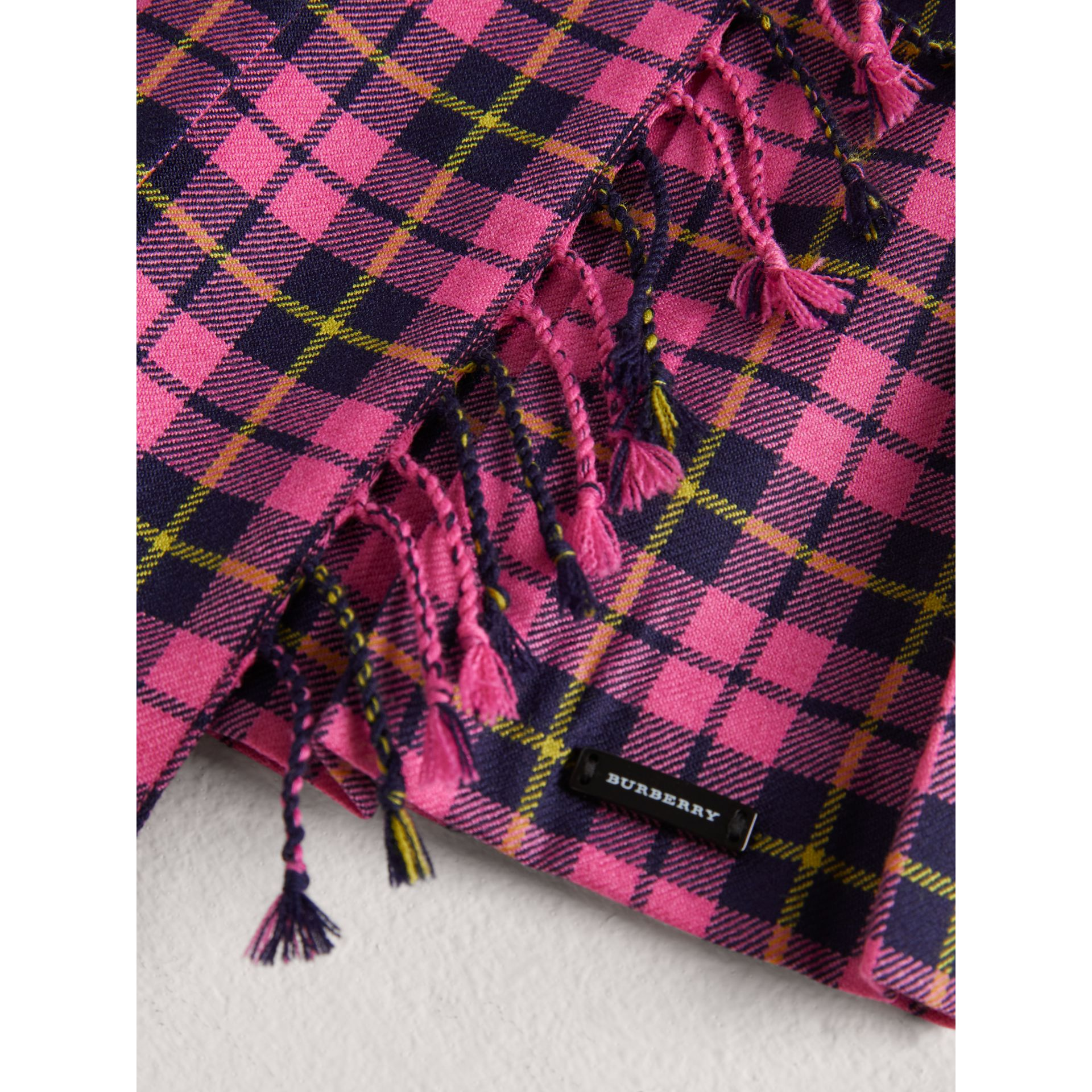 Fringe Detail Tartan Wool Kilt in Neon Pink - Girl | Burberry - gallery image 1