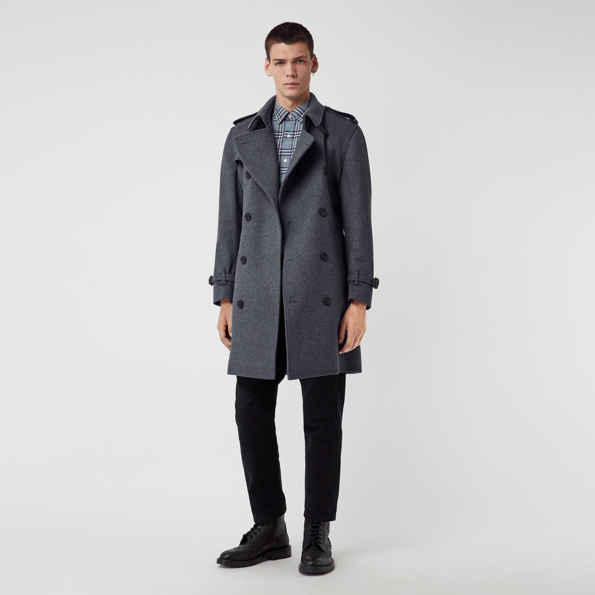Wool Cashmere Trench Coat in Pewter Melange - Men | Burberry United States - gallery image 0