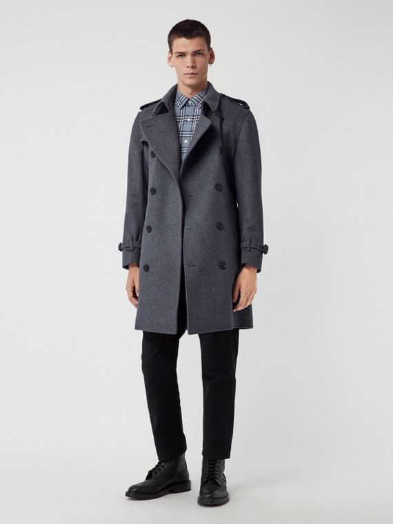 Wool Cashmere Trench Coat in Pewter Melange