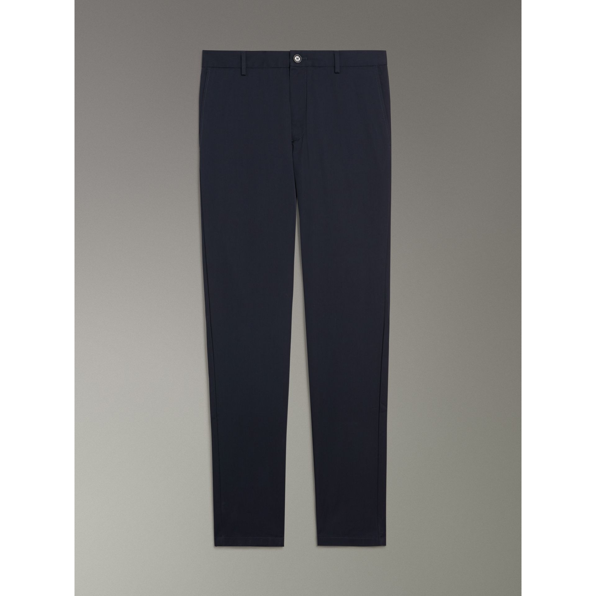 Slim Fit Cotton Chinos in Navy - Men | Burberry - gallery image 3