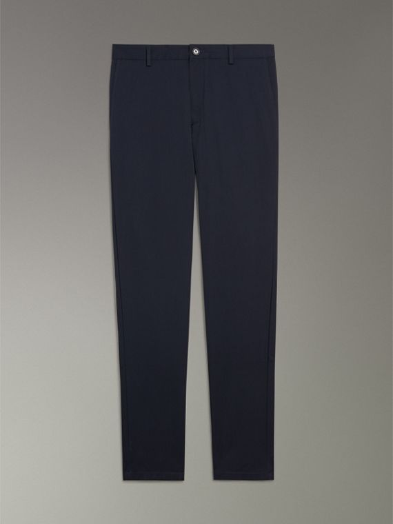 Slim Fit Cotton Chinos in Navy - Men | Burberry Canada - cell image 3