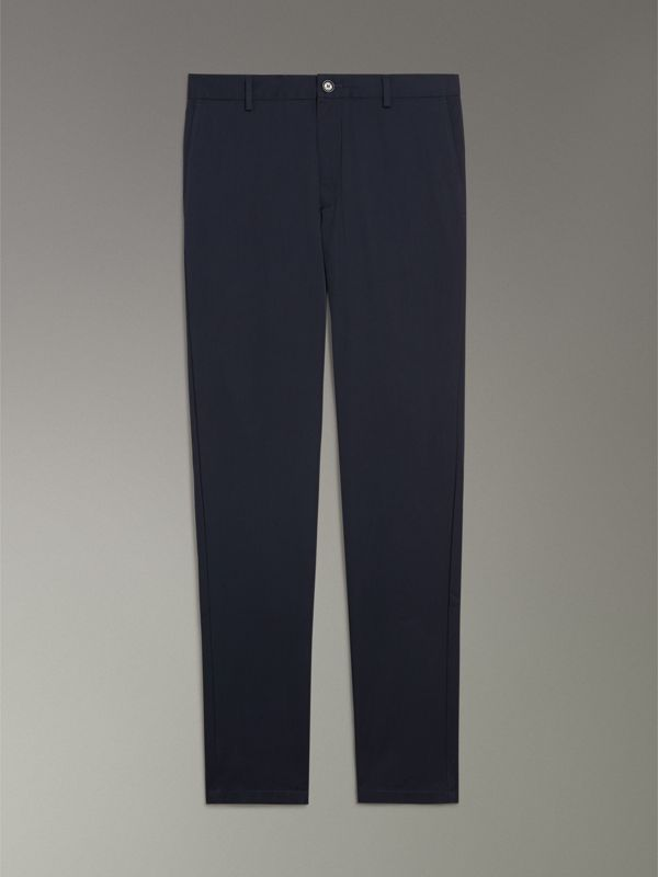 Slim Fit Cotton Chinos in Navy - Men | Burberry Singapore - cell image 3