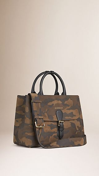 The Medium Saddle Bag in Camouflage Suede