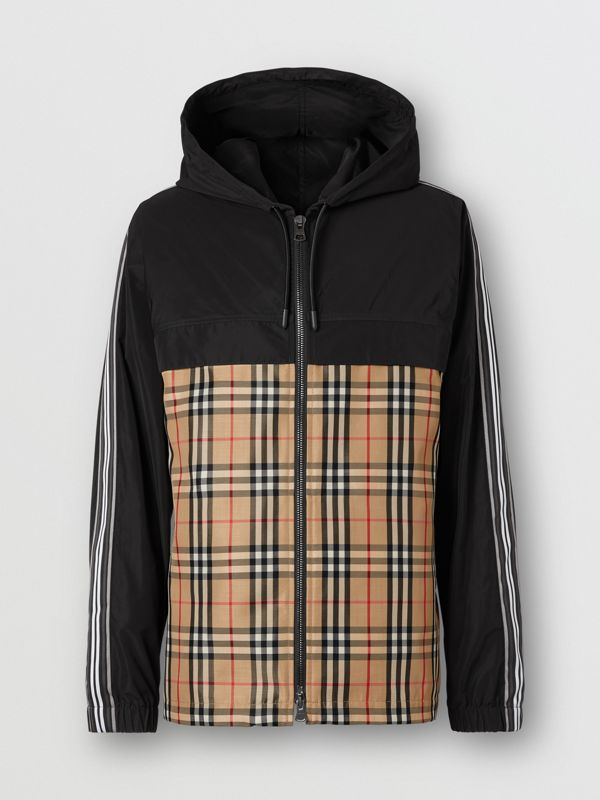 Check Panel Shape-memory Taffeta Hooded Jacket in Archive Beige - Men | Burberry - cell image 3