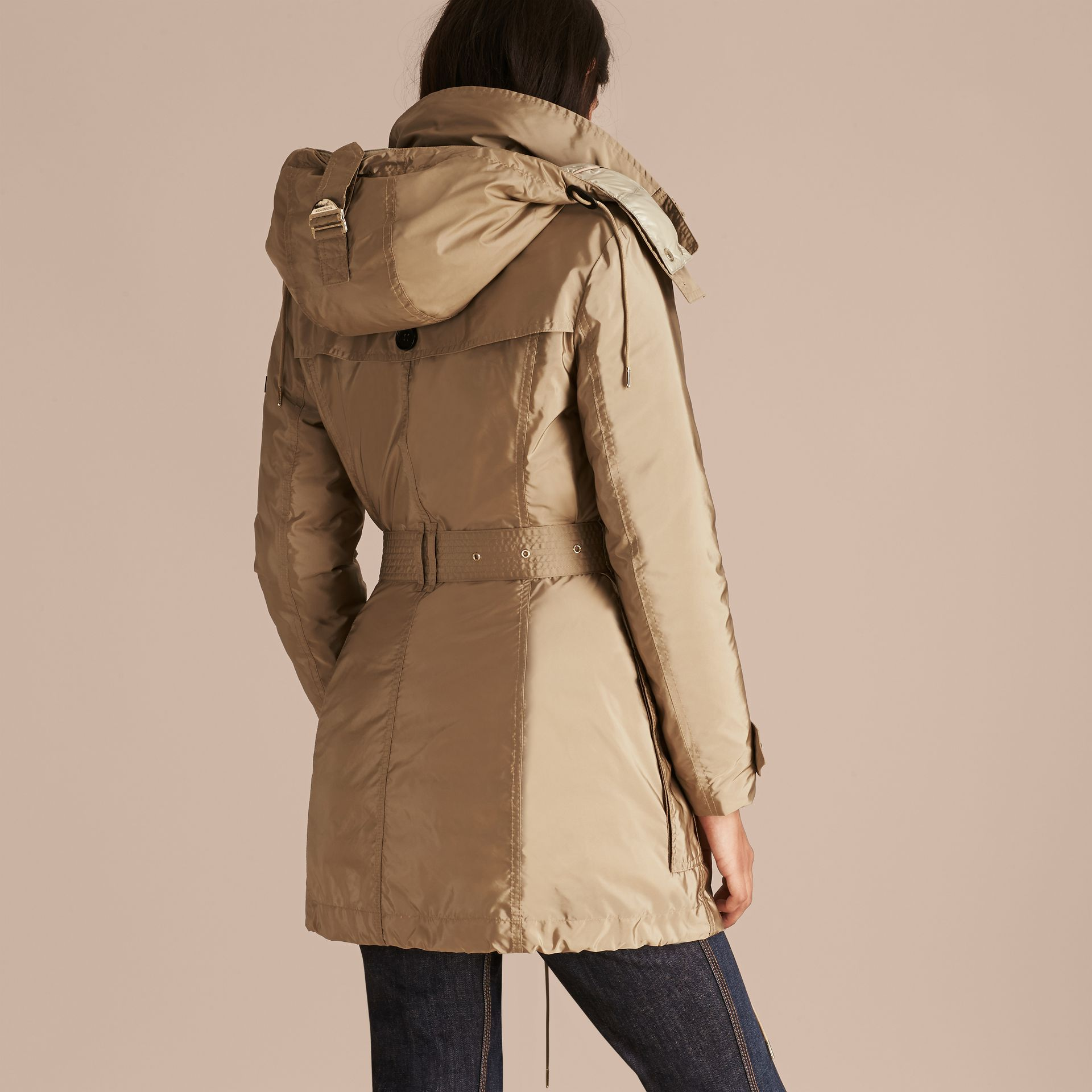 Fur-trimmed Parka with Detachable Down-filled Jacket in Sisal - gallery image 6