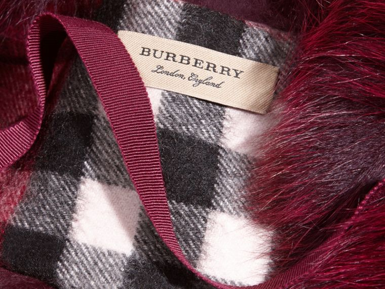 Fox Fur Collar with Check Cashmere Lining in Plum - Women | Burberry Australia - cell image 1