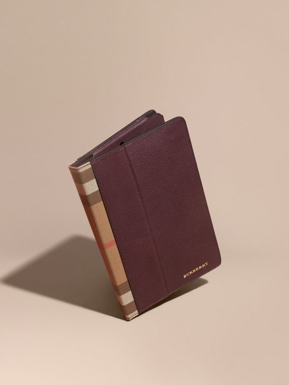 Funda para iPad en piel granulada y House Checks Vino