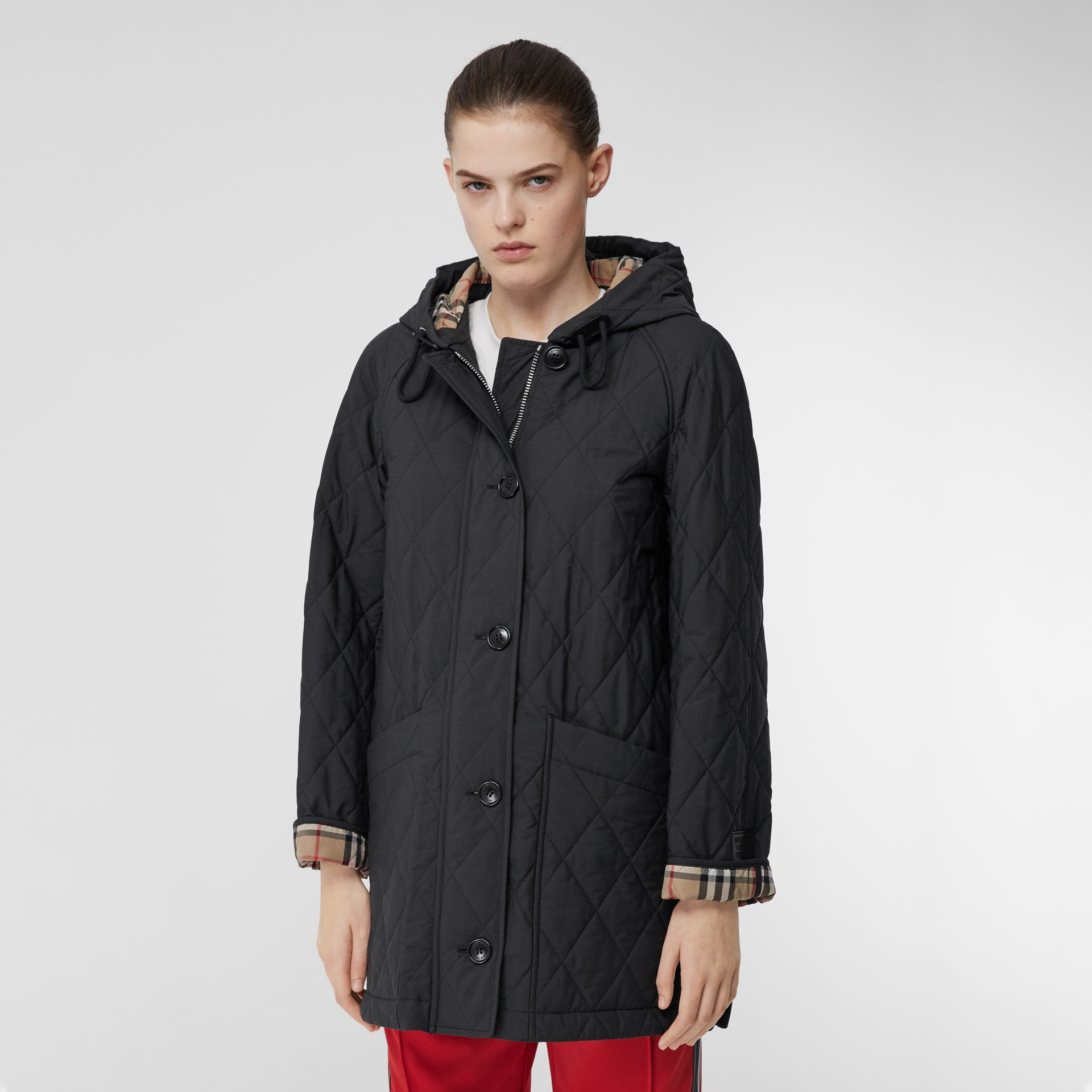 Diamond Quilted Cotton Blend Hooded Coat in Black - Women | Burberry - gallery image 5