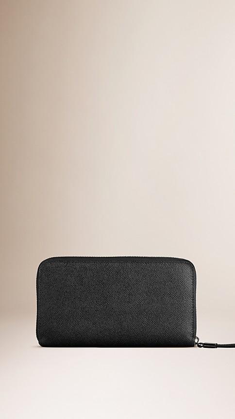 Black London Leather Ziparound Wallet - Image 3