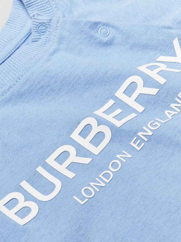 Logo Print Cotton Three-piece Baby Gift Set in Dusty Blue - Children | Burberry United Kingdom - cell image 1
