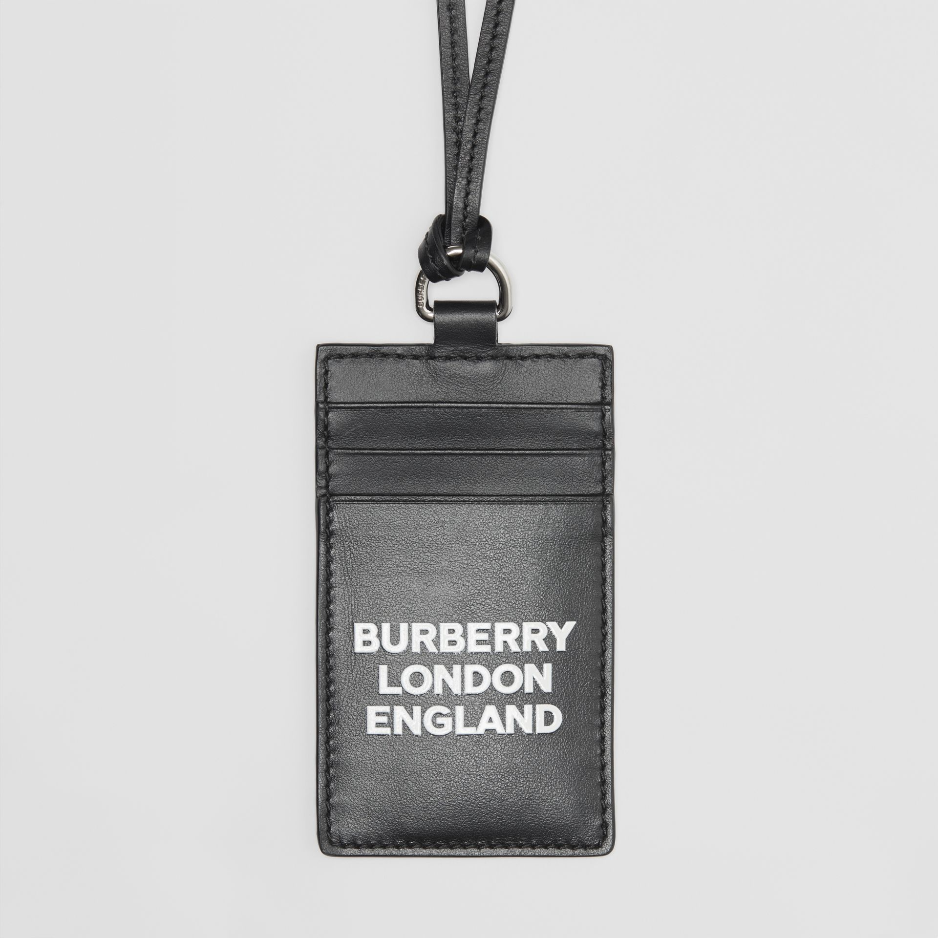 Logo Print Leather Card Case Lanyard in Black | Burberry - gallery image 1