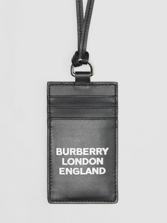 Logo Print Leather Card Case Lanyard in Black