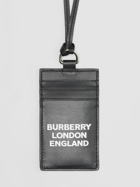 Logo Print Leather Card Case Lanyard in Black | Burberry - cell image 1