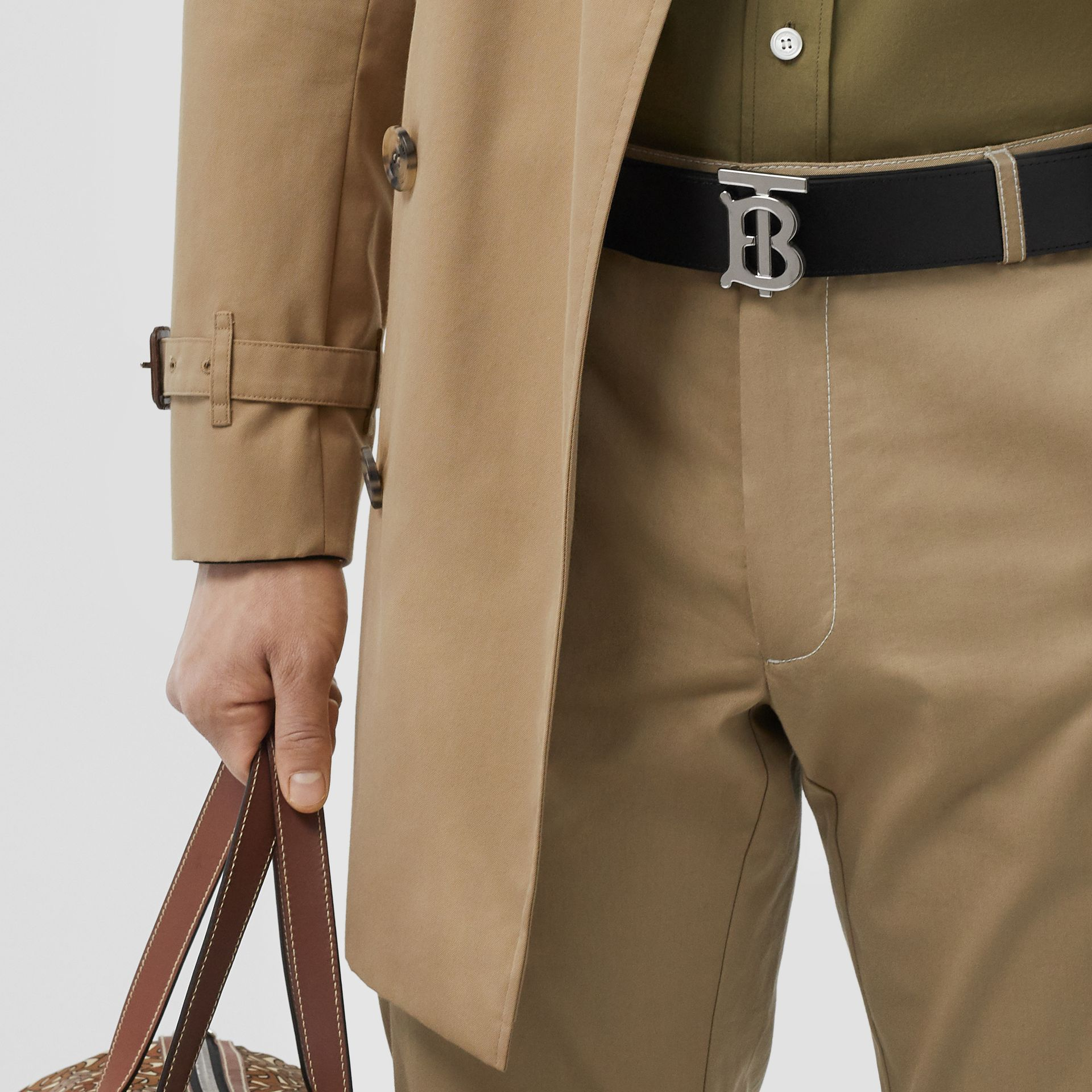 Reversible Monogram Motif Leather Belt in Tan/black - Men | Burberry Australia - gallery image 7