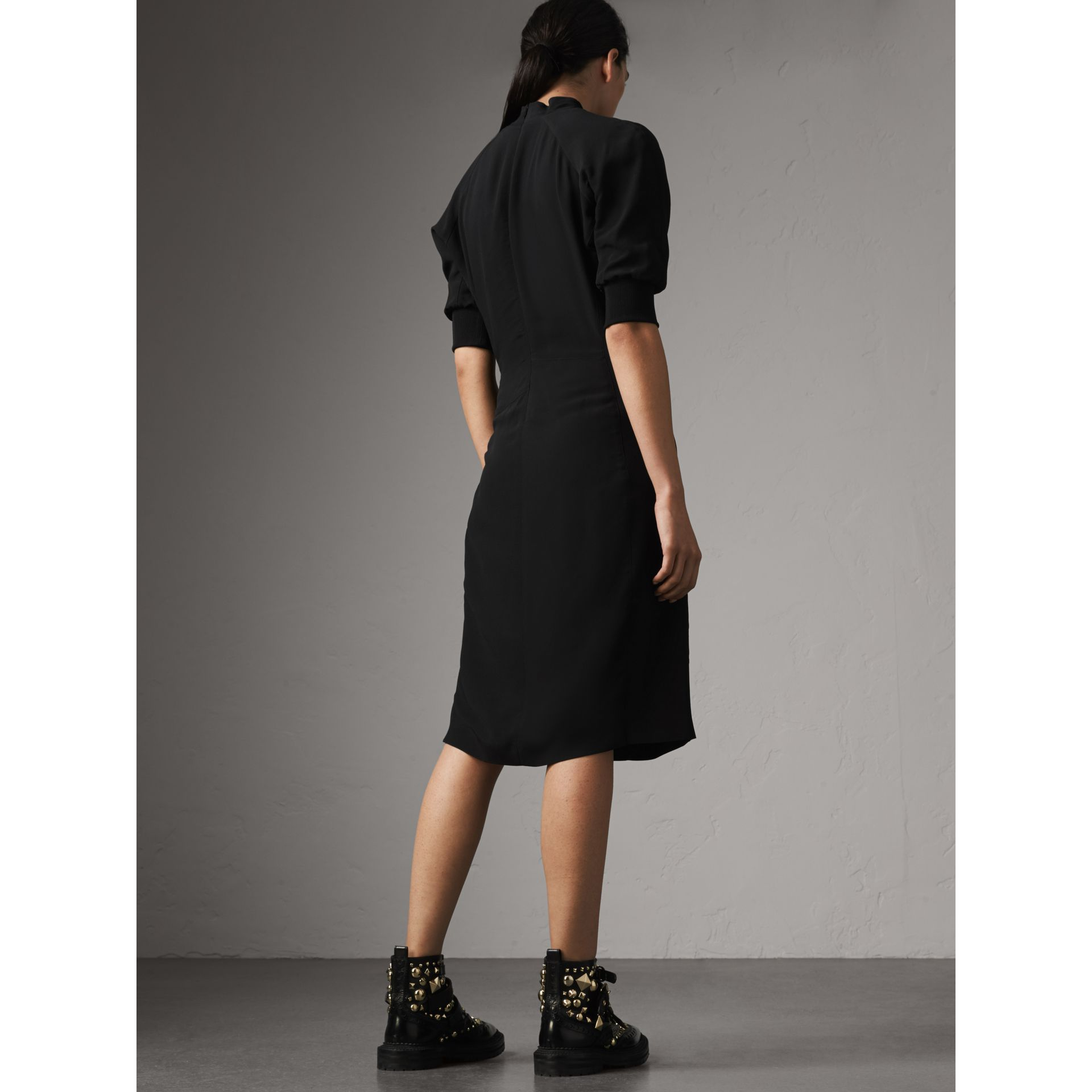Pussy-bow Crepe Dress in Black - Women | Burberry - gallery image 2