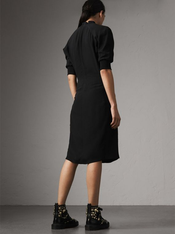 Pussy-bow Crepe Dress in Black - Women | Burberry - cell image 2