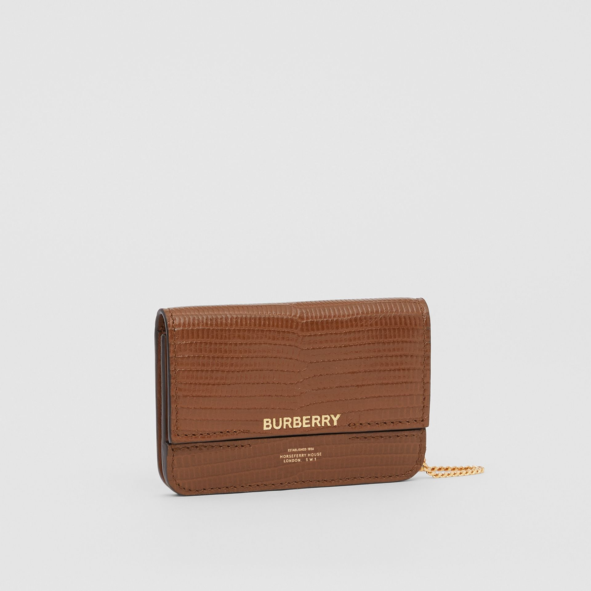 Embossed Deerskin Card Case with Chain Strap in Tan - Women | Burberry Canada - gallery image 7