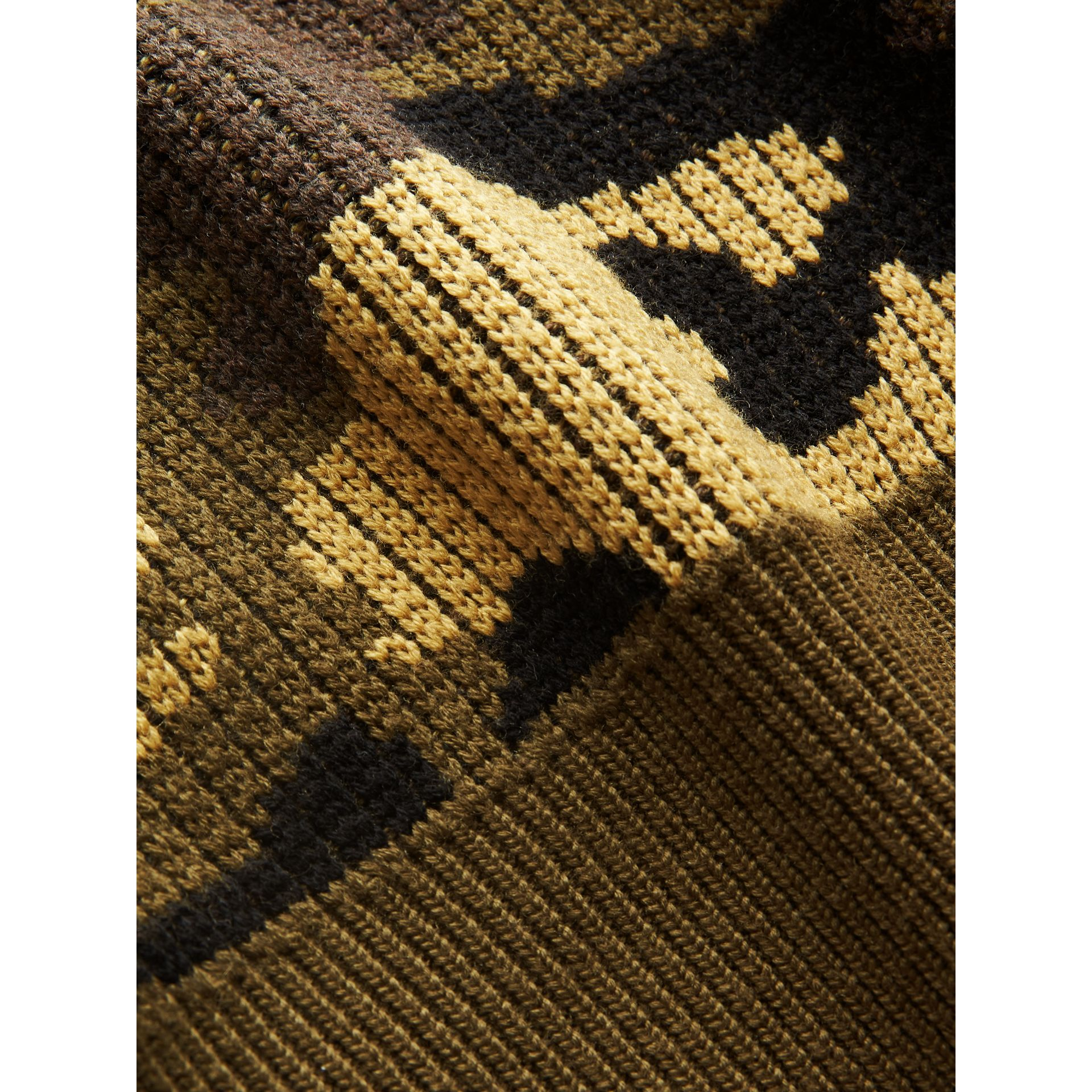 Camouflage Merino Wool Jacquard Sweater in Khaki Green | Burberry - gallery image 1