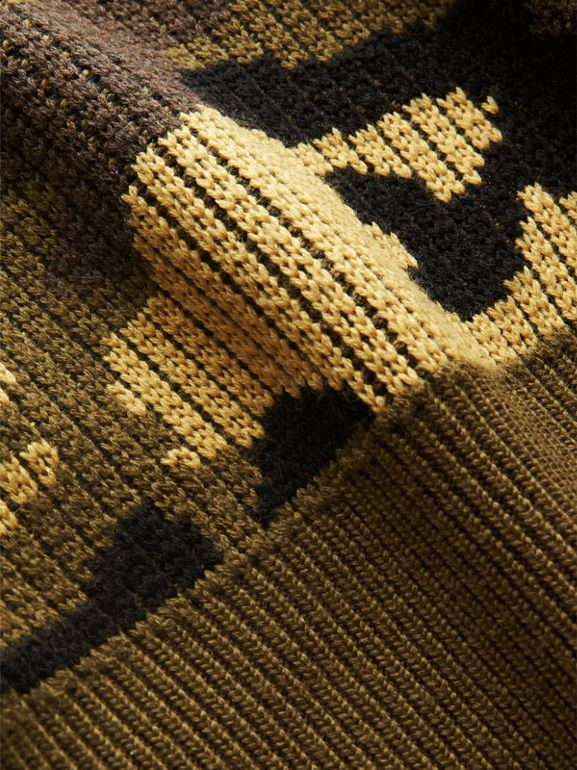 Camouflage Merino Wool Jacquard Sweater in Khaki Green | Burberry - cell image 1