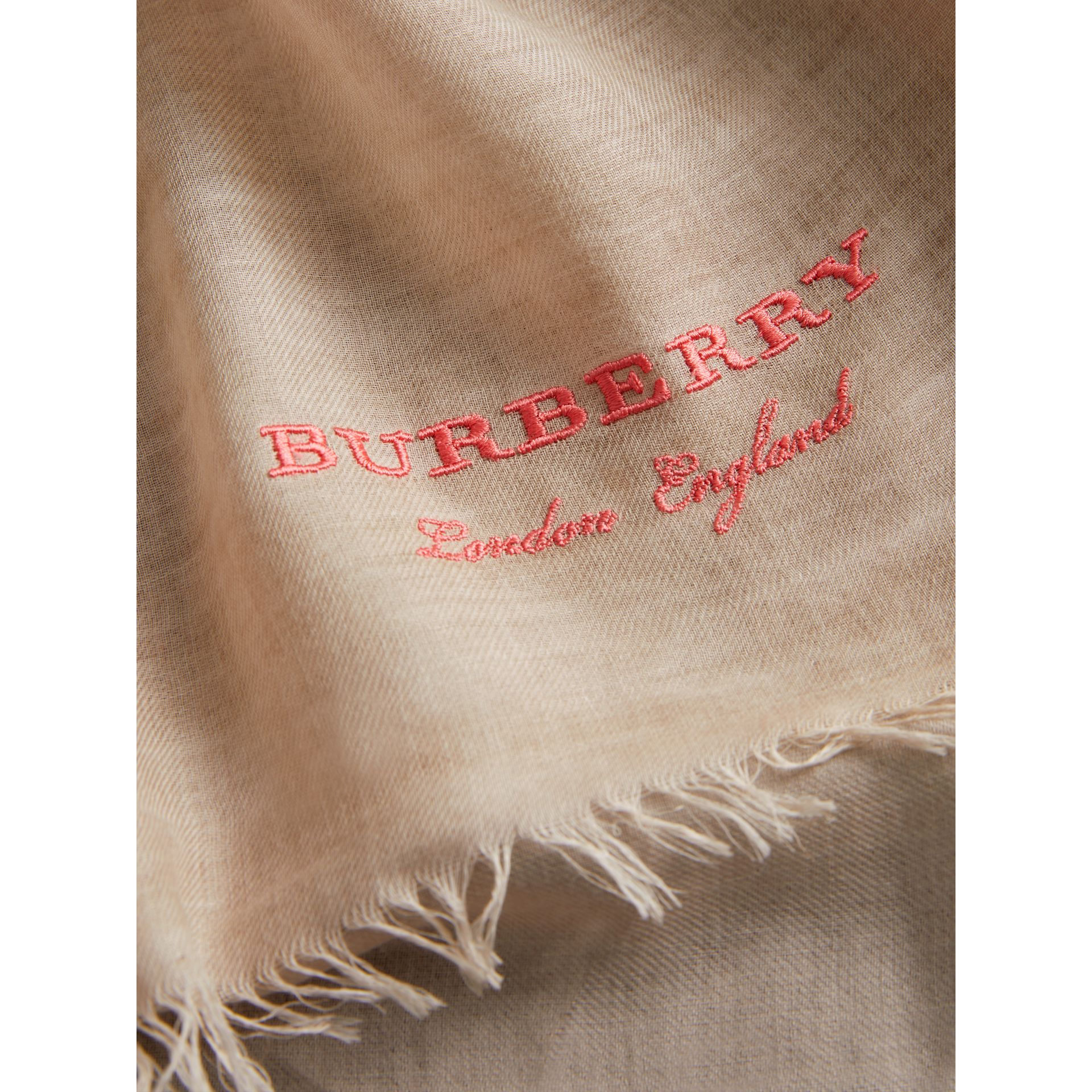 Embroidered Cashmere Cotton Scarf in Stone | Burberry Australia - gallery image 1