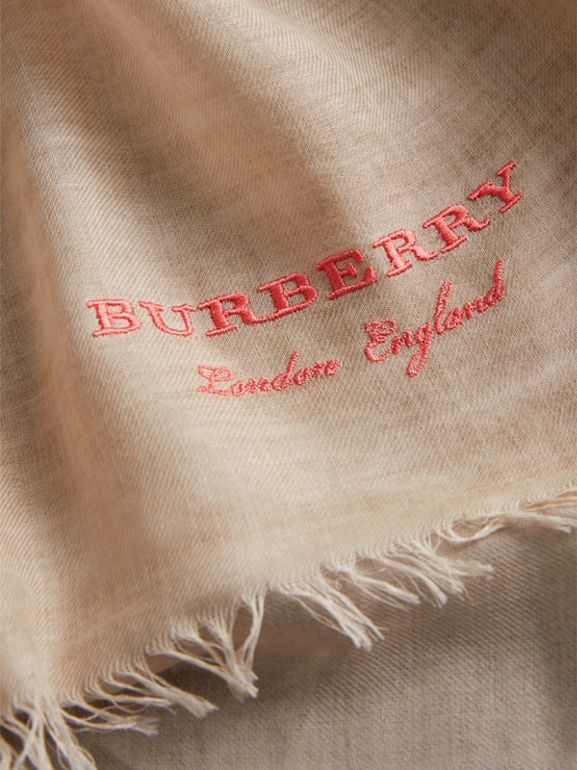 Embroidered Cashmere Cotton Scarf in Stone | Burberry - cell image 1