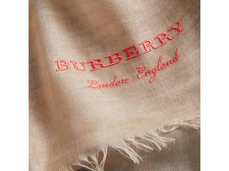 Embroidered Cashmere Cotton Scarf in Stone | Burberry Australia - cell image 1