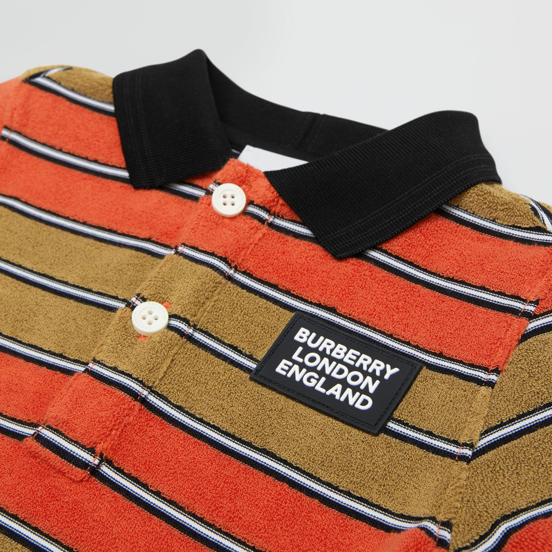 Logo Appliqué Striped Towelling Polo Shirt in Vermilion Red - Children   Burberry United Kingdom - gallery image 1