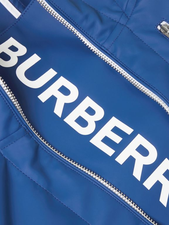 Logo Print Showerproof Hooded Jacket in Imperial Blue | Burberry - cell image 1